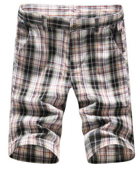 s 'Zipper Fly Shorts Casual Straight Leg Plaid Impression Hommes - Carré 30