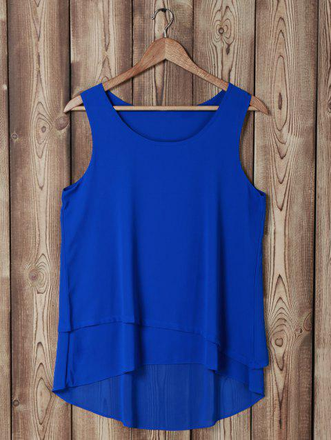Stylish Scoop Neck Sleeveless Faux Twinset Design Blouse For Women - SAPPHIRE BLUE M
