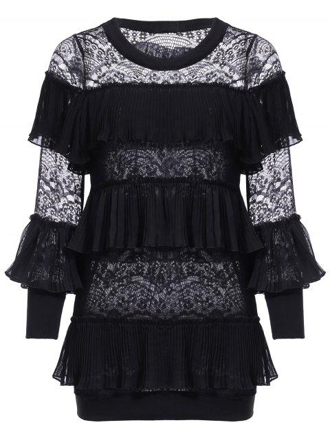 Chic Round Collar Flounce Lace Spliced Women's Blouse - BLACK ONE SIZE(FIT SIZE XS TO M)