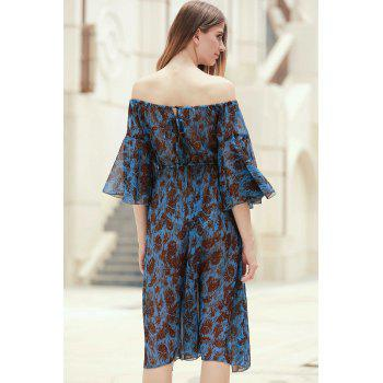 Stylish Women's Off The Shoulder Bell Sleeve Printed Dress - BLUE S