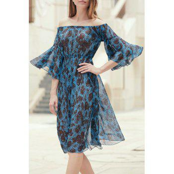 Stylish Women's Off The Shoulder Bell Sleeve Printed Dress