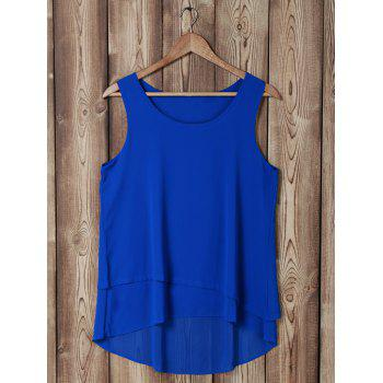 Stylish Scoop Neck Sleeveless Faux Twinset Design Blouse For Women - SAPPHIRE BLUE SAPPHIRE BLUE