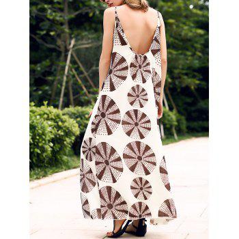 Trendy V-Neck Spaghetti Strap Printed Women's Maxi Dress