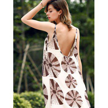 Trendy V-Neck Spaghetti Strap Printed Women's Maxi Dress - WHITE M