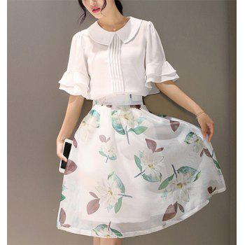 Chic 1/2 Sleeve Blouse + Floral Print Skirt For Women