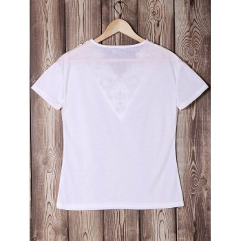 Trendy Short Sleeve V-Neck Solid Color Lace Spliced Women's T-Shirt - WHITE XL