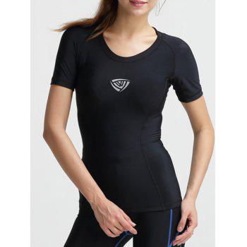 Active Style Women's Scoop Neck Short Sleeves Solid Color Sport Top - BLACK BLACK
