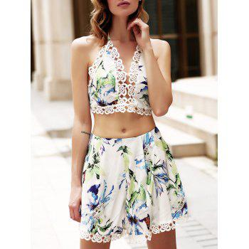 Trendy V Neck Sleeve Crop Top + Lace Spliced Shorts Suit For Women