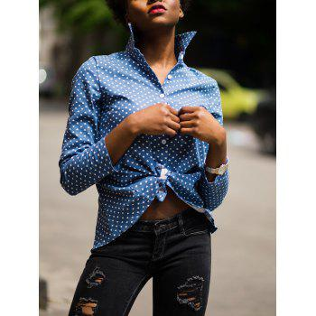 Fashion Stand-Up Collar Long Sleeve Polka Dot Slit Women's Shirt