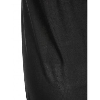 Chic Jewel Neck Hit Color Hollow Out Dress For Women - BLACK S