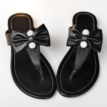 Ladylike Rhinestones and Bowknot Design Women's Slippers - 38 38