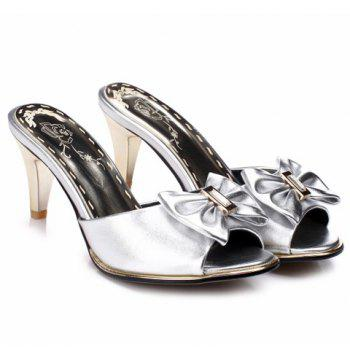 Trendy Solid Color and Bow Design Women's Slippers - SILVER SILVER