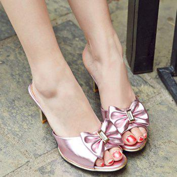 Trendy Solid Color and Bow Design Women's Slippers - PINK PINK