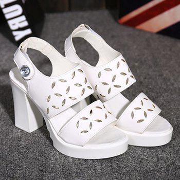 Trendy  and Engraving Design Women's Sandals - WHITE 38