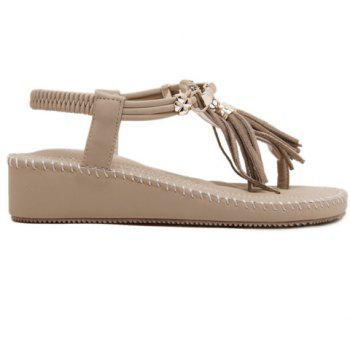 Fashionable Metal and Tassels Design Women's Sandals - APRICOT 35
