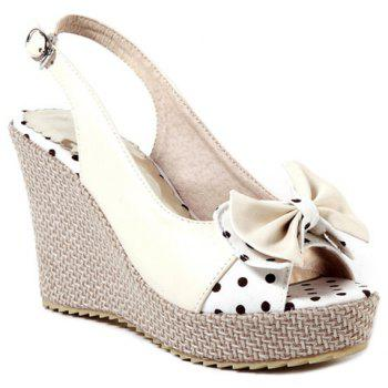 Sweet Bow and Wedge Heel Design Women's Sandals