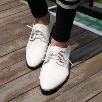 Trendy Lace-Up and Metal Design Men's Formal Shoes - WHITE 38