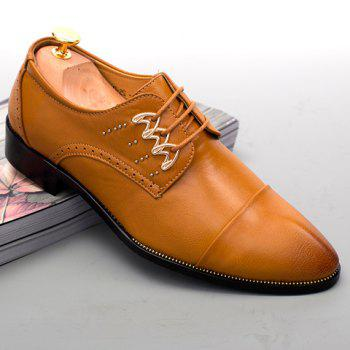 Trendy Lace-Up and Metal Design Men's Formal Shoes - BROWN 42