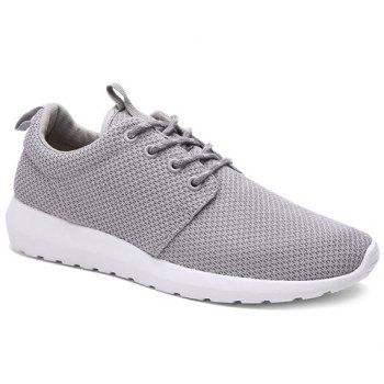 Buy Stylish Solid Colour Breathable Design Men's Athletic Shoes GRAY