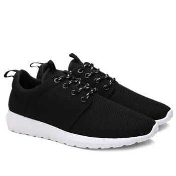 Stylish Solid Colour and Breathable Design Men's Athletic Shoes - BLACK BLACK