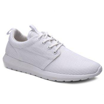 Buy Stylish Solid Colour Breathable Design Men's Athletic Shoes WHITE