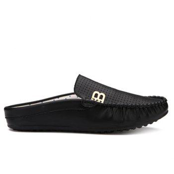 Stylish Metal and Solid Colour Design Men's Casual Shoes - BLACK 42