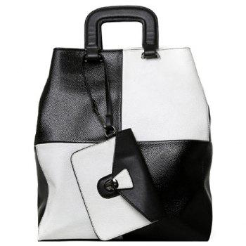 Stylish PU Leather and Color Block Design Women's Tote Bag