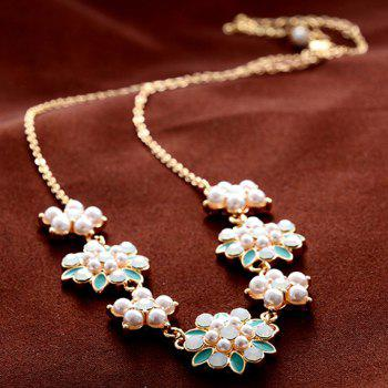 Faux Pearl Flower Embellished Necklace - GREEN