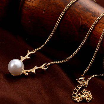 Faux Pearl Deer Horn Pendant Necklace