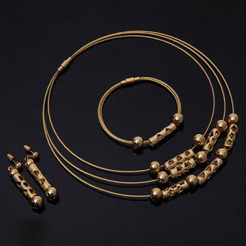 A Suit of Hollow Out Heart Beads Necklace Bracelet and Earrings - GOLDEN