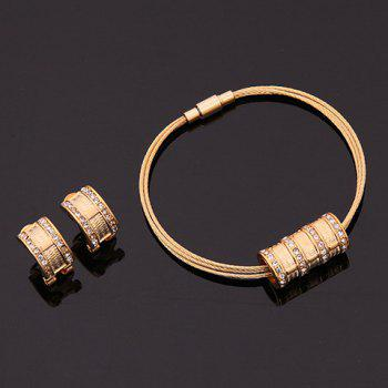 A Suit of Ring Shape Rhinestone Necklace Bracelet and Earrings - GOLDEN