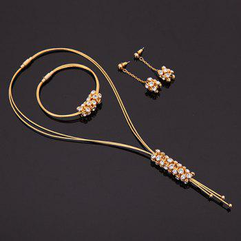 A Suit of Rhinestone Multilayer Tassel Necklace Bracelet and Earrings - GOLDEN