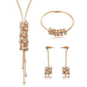 A Suit of Rhinestone Multilayer Tassel Necklace Bracelet and Earrings