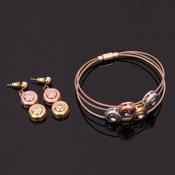 A Suit of Button Cell Rhinestone Necklace Bracelet and Earrings - COLORMIX