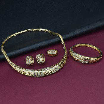 A Suit of Whorl Rhinestone Hollow Out Necklace Bracelet Earrings and Ring - GOLDEN