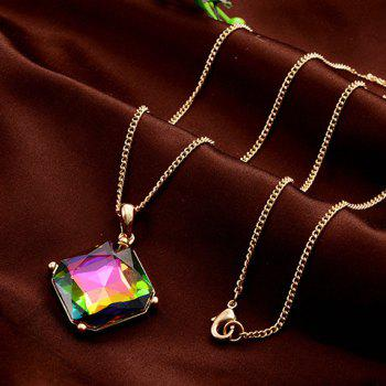Chic Colorful Rhinestone Inlay Pendant Women's Sweater Chain - GOLDEN GOLDEN
