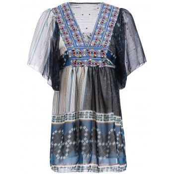Ethnic Style Short Sleeve Spliced Embroidery Beaded Women's Dress