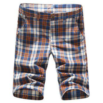 Stylish Straight Leg Plaid Printing Men's Zipper Fly Shorts