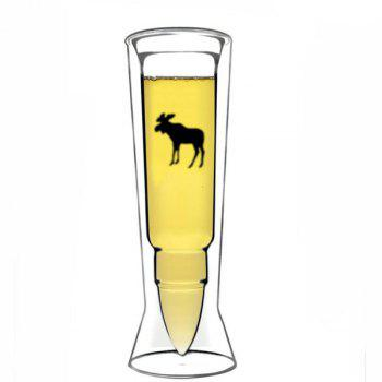 High Quality Missile Shape Double Cup Transparent Juice Beer Glass