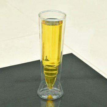 High Quality Missile Shape Double Cup Transparent Juice Beer Glass - TRANSPARENT