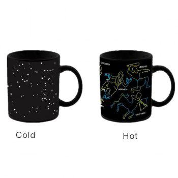 High Quality Novelty Office Tea Coffee Cup Constellation Pattern Color Changing Ceramic Mug - BLACK