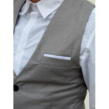 Single Breasted Edging Solid Color V-Neck Sleeveless Men's Waistcoat - GRAY 2XL