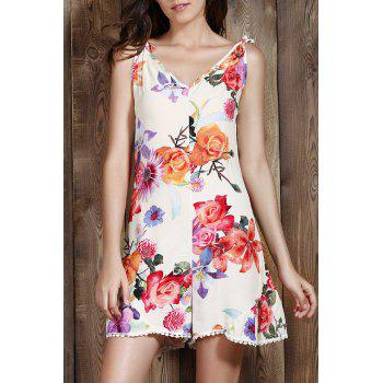 Stylish Spaghetti Straps Sleeveless Flower Print Women's Playsuit