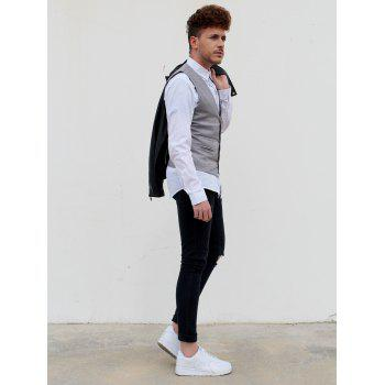 Single Breasted Edging Solid Color V-Neck Sleeveless Men's Waistcoat - GRAY M
