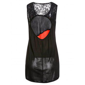 Chic Jewel Neck Hit Color Hollow Out Dress For Women - BLACK XL