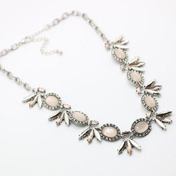 Elliptical Resin Rhinestone Necklace - SILVER