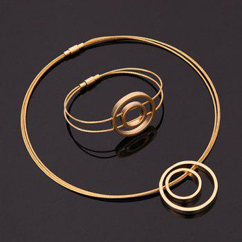 A Suit of Gorgeous Golden Circle Necklace Bracelet and Earrings For Women - GOLDEN