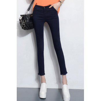 Trendy Women's Slimming Fringed Design Stretchy Ankle Pants - DEEP BLUE S