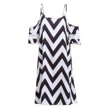 Trendy Women's Spaghetti Strap Lace Spliced Zigzag Dress