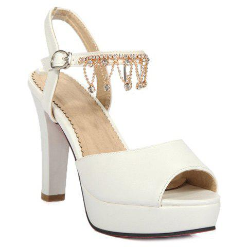 Elegant Solid Color and Rhinestone Design Women's Sandals - WHITE 36